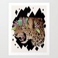 Flower Crown Leopard Art Print