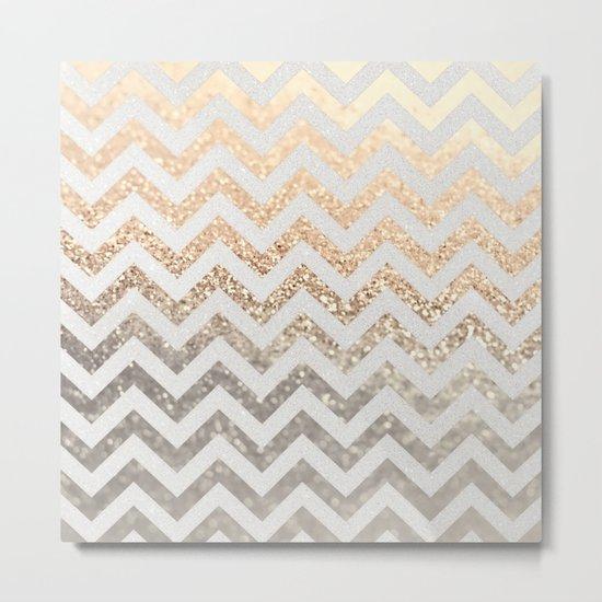 GOLD & SILVER CHEVRON Metal Print