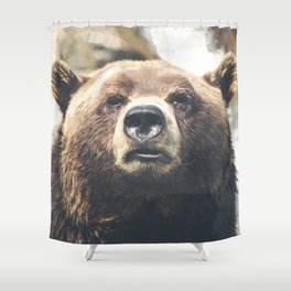 Geometric Bear Shower Curtain
