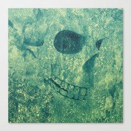 Grunge Skull Green Canvas Print