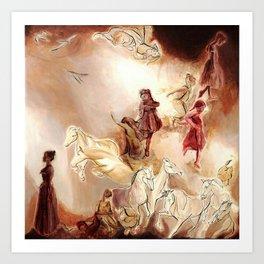 Imagined dream horses children dancing painting Art Print