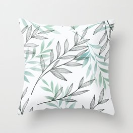Nature branches with blue gray leaves Throw Pillow