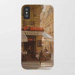 Timeless sunny Paris corner | Paris cafe brasserie in golden light iPhone Case