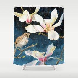 Night Music, Nightingale and Magnolias on Dark Sky, Stary Night Shower Curtain