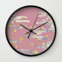 Vintage Maple Leaves Illustration Wall Clock