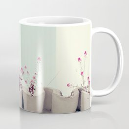 Pink flowers on the white rooftop Coffee Mug