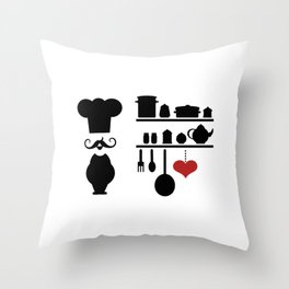 Chef silhouette with kitchen elements Throw Pillow