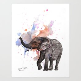 Dancing Elephant Painting Art Print