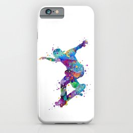 Skater Boy Art Colorful Watercolor Gift iPhone Case