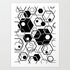 Hexagons Overlapped Art Print