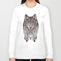 wolf Long Sleeve T-shirts featuring Wind Catcher Wolf by Rachel Caldwell