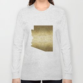 arizona gold foil state map Long Sleeve T-shirt