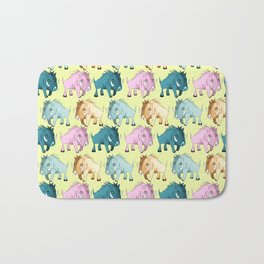 Cute Yellow Kawaii Wild Boar Watercolor Pattern Print Bath Mat