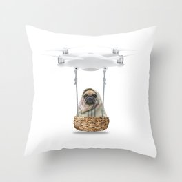 Pug Dog in a Drone Throw Pillow