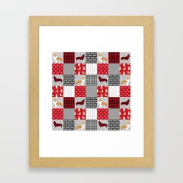 Corgi Patchwork Print - red, dog, buffalo plaid, plaid, mens corgi dog Framed Art Print
