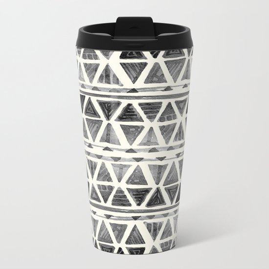 Tribal Geometric Chevron Stripes Metal Travel Mug
