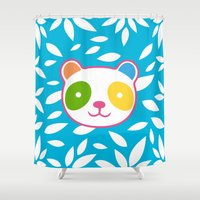 murakami Shower Curtains featuring Rainbow Panda by XOOXOO