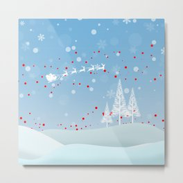 Christmas landscape with snow, Santa Claus, mountains and trees Metal Print