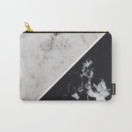 White Glitter Marble Meets Black Marble #1 #decor #art #society6 Carry-All Pouch