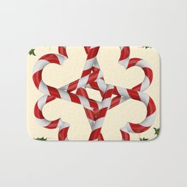 CREAMY YELLOW  RED-WHITE PINK  CHRISTMAS CANDY CANES Bath Mat