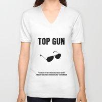 top gun V-neck T-shirts featuring Top Gun Movie Poster by FunnyFaceArt