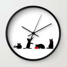 Cats Black on White Wall Clock