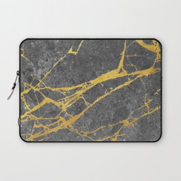 Matte black marble with gold Laptop Sleeve