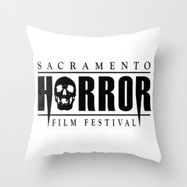 Sacramento Horror Film Festival Black Logo Throw Pillow