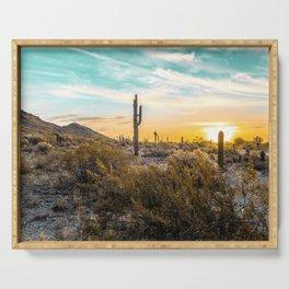 Desert Sunrise // Saguaro Cactus Summer Sun Arizona Nature Landscape Teal Blue Green Sky Serving Tray