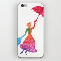 mary poppins iPhone & iPod Skins featuring Mary Poppins by Suzieque