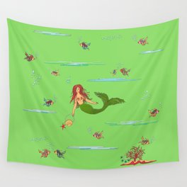 Fashionable mermaid - green Wall Tapestry