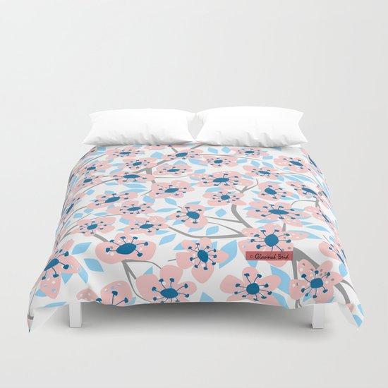 White Blossoms Duvet Cover