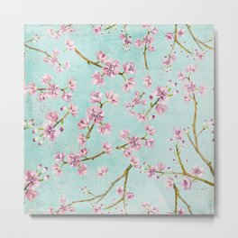 Spring Flowers - Cherry Blossom Pattern Metal Print