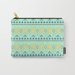 Knitted Christmas pattern turquoise Carry-All Pouch