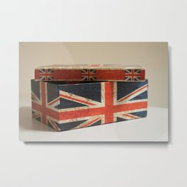 Cardboard box consumed with the British flag Metal Print