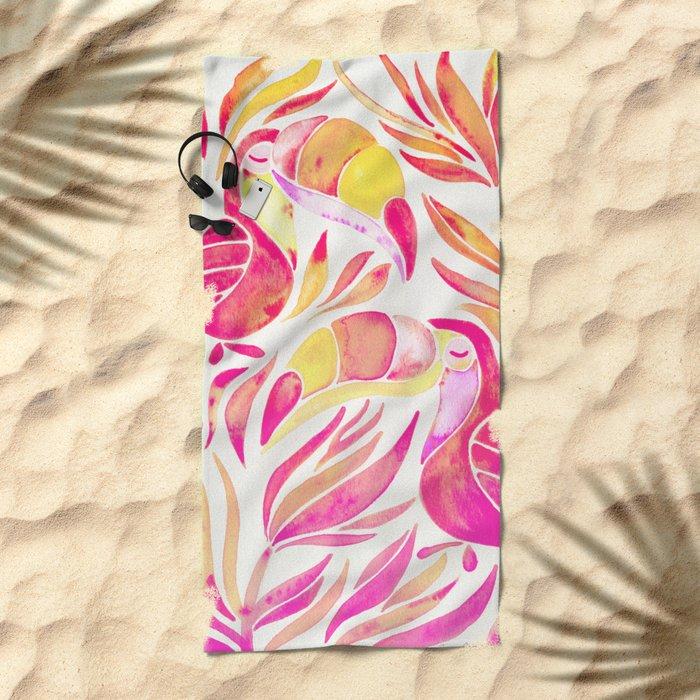 Tropical Toucans – Pink & Melon Ombré Beach Towel