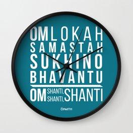 Lokah Samastah Mantra Yoga Blue Wall Clock