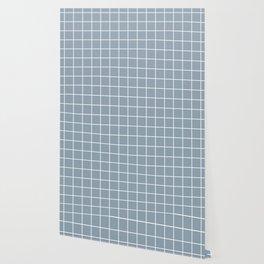 Cadet grey - grey color - White Lines Grid Pattern Wallpaper