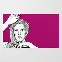 ellie goulding Area & Throw Rugs featuring Ellie Goulding by Sharin Yofitasari
