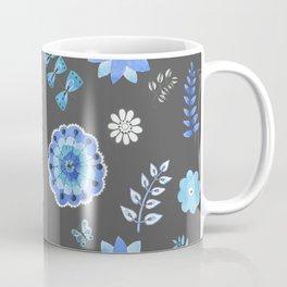Blue Floral Pattern on Dark - Branches Coffee Mug