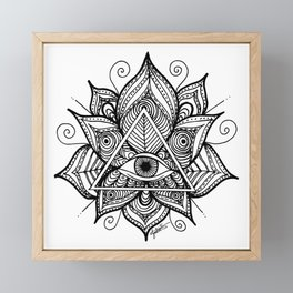 Black and White Evil Eye Lotus Framed Mini Art Print