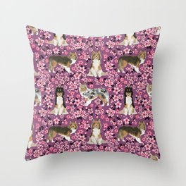Shetland sheepdog sheltie cherry blossom floral flowers florals dog breed dogs Throw Pillow