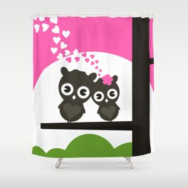 Enamoured owls Shower Curtain