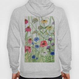 Watercolor of Garden Flower Medley Hoody