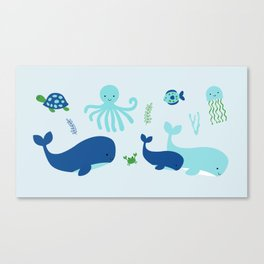 Blue Nautical Under The Sea Animals Canvas Print