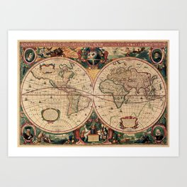 Old Map of the World Vintage  Art Print