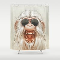 ruben Shower Curtains featuring The Great White Angry Monkey by Dr. Lukas Brezak