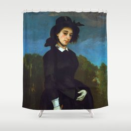"Gustave Courbet ""Woman in a Riding Habit (L'Amazone)"" Shower Curtain"