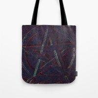 pentagram Tote Bags featuring Cosmic Pentagram by Ishtar777