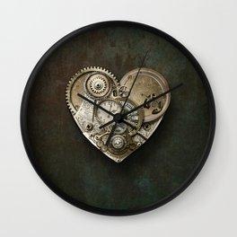 Steampunk Heart on Grunge Background Wall Clock